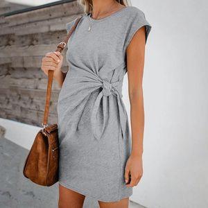 Abiti allentato donne di maternità di cura Wrap vita alta breve vestito doppio strato manica comodi abiti incinte solidi