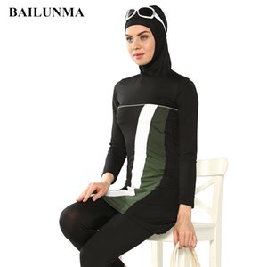 Fashion Muslim Women Swimwear full suit for swimming Islamic Swimsuit Full Face Hijab Swimming Beachwear Swimsuit Sport Clothing T200708