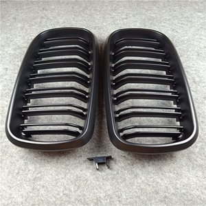 1 pair 2-Slat ABS Front Racing Grill Grille Matte Black & Glossy M Color Kidney Mesh Grille For B-M-W X5 X6 F15 F16