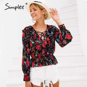 Simplee V neck floral print women shirt Lace up ruffles short sweet blouse 2020 Spring long sleeve casual blusas female