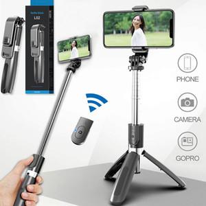 L02 selfie palillo de soporte para teléfono Bluetooth Monopod del trípode plegable con el obturador a distancia inalámbrico para el teléfono inteligente con la caja al por menor MQ10