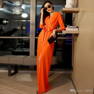 Wholesale- HIGH QUALITY New Fashion 2016 Spring Women's 3 4 Sleeve V-neck Solid Brief Slit Casual Long Maxi Dress Size S-XXL 6 colors