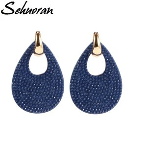 Sehuoran 2020New Hot sale earrings brincos big water drop earrings for woman Copper with resin pendientes statement