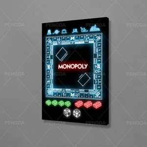 Modular Pictures Neon Lights Canvas Wall Art Monopoly Paintings Fashion Printed Nordic Poster Living Room Home Decoration Frame