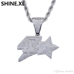 Men and Women White Gold Hip Hop Number 47 Star Pendant Necklace Charms Cubic Zircon Stone Jewelry Gifts