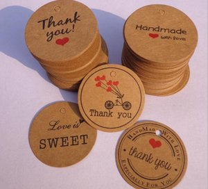 New Festive 100pcs lot Thank you with Red Heart Kraft Gift Tags Wedding Party Paper Hang Tags Price Label Hang Tag Cards