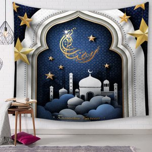 New Ramadan Tapestries 150*130cm Polyester Printed Hanging Tapestry Ramadan Kareem Wall Blanket Prayer Mat Tablecloth Ramadan Home Decor