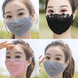 Máscaras Sunscreen cara dirigir um carro de equitação Lace Máscara Anti poeira lavável Mascarilla Boa fina Moda 7 8NX E2