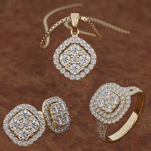 Conjunto de presente de casamento Senhoras Clássicas 18K Diamante de Ouro Jóias Jóias Conjunto Brincos Pingente Colar Anel Acessórios Acessórios