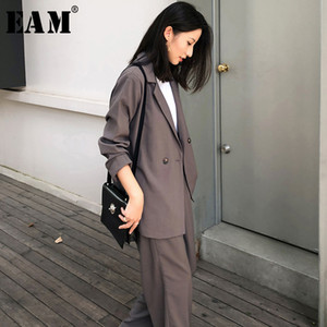 [EAM] Wide Leg Pants Thin Leisure Two Piece Suit New Lapel Long Sleeve Loose Fit Women Fashion Tide Spring Autumn 2020 1X567
