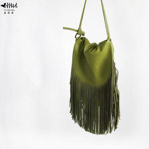 Le donne frange Messenger Bags 100% vera pelle nappa della frangia di Boho Hippie della Boemia zingaresca tribali Borse Ibiza Style Crossbody