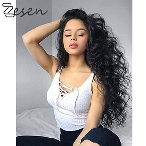 Longue perruque noire vague profonde à haute température fibre 150% gratuite Partie lourde Densité synthétique avant de dentelle perruques pour les femmes