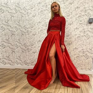 Red Two Pieces Mermaid Homecoming Dresses High Neck Long Sleeve Sequined Graduation Dress Long Girls Prom Gown