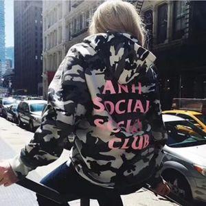 Мужчины Женщины Streetwear Повседневный High Street Хлопок 17FW ASSC Hoodie свитер Камуфляж Coat