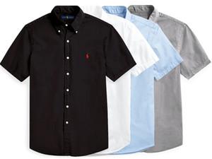 Classic RL Horse Race 'POLO Men Casual Shirt #001 New Jersey Real Madrid Summer Short sleeve Male Slim Fit Dress Shirts LA Galaxy