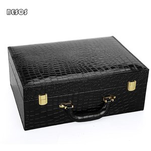 High-end Black Brown Crocodile Grain Flannelette Lined New Year Party Red Wine Shoes Double Buckle Hand Carry Gift Box B325D