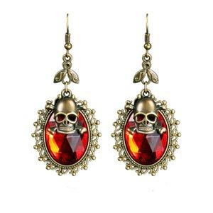 1 Pair Red Skull Head Fashion Jewellery Long Dangle Earrings Halloween Ornaments