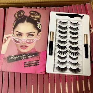 3D 5D Magnetische Wimpern mit Eyeliner und Tweezer-Kit 10 Paare Magnetic Falsche Wimpern natürlichen Look 2ST Liquid Eyeliner kleister DHL