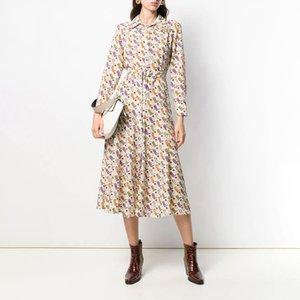 Платье Милана взлетно-посадочная полоса 2020 седло печатает отворот шеи с длинными рукавами Vestidos de Festa High End Long платья женщин YY-110