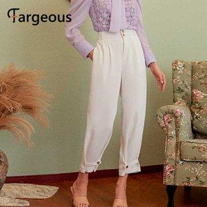 Fargeous femmes pantalon décontracté blanc solide 2020 pantalons de travail vintage automne capris femmes dames de bureau décontractée pantalon de style britannique