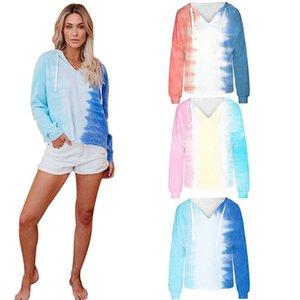 Women Tie Dye Thin Hoodie Sweatshirts Autumn sweatshirt Long Sleeve V-Neck ladies pullovers casual loose hooded shirt Tops Streetwear
