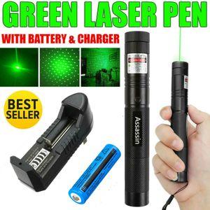10Mile Adjuatable Фокус Военный Горение Зеленый лазерный указатель пера Star Cap Астрономия 5MW 532nm Мощный Cat Toy + 18650 + зарядное устройство
