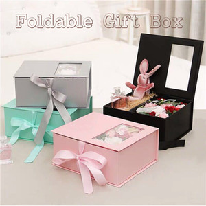 Custom pink silvery grey flat pack folding box packaging magnetic paper foldable gift box