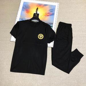 Men's sportswear fashion designer clothing Medusa fashion sportswear T-shirt plus trouser suit jogging suit European and American style