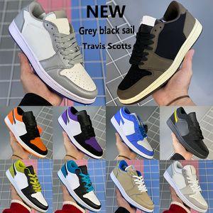 Nuovo Grigio vela nera scarpe da basket 1 1s Jumpman Bassi OG SP Travis Scotts Galaxy punta nera UNC zucchero filato uomini donne scarpe da ginnastica