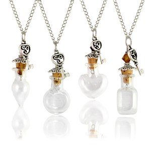 2PCS 20x20MM DIY Empty Bottle Necklace Wishing Necklace essential oil Keep Small Bottle Necklaces For Women