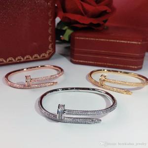 productos calientes de venta de tornillo uñas taladro completo brazaletes de oro pulsera de las mujeres Punk para el mejor regalo brazaletes de la joyería de lujo de calidad superior