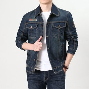 Young men's Outdoor sports denim casual jacket loose multi-bag tough guy outdoor sports lapel jacket