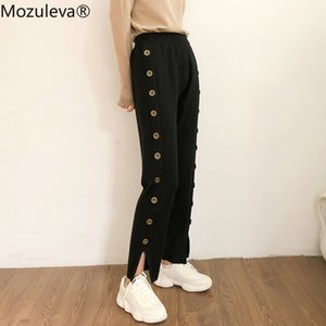 Mozuleva Stylish Side-Buttons Straight Knitted Pants Women Winter Thicken Warm Pants Female Casual Women Sweater Trousers 2020