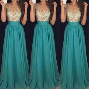 Summer New Women Formal Wedding Party Dress Sequins Chiffon Sleeveless Mesh Dress Evening Party Ball Prom Gown High Waist
