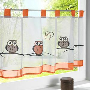 Popolare ricamo Piccolo Voile floreali / Foglie / Owl modello Sheer Curtain Tulle per cucina Balcone Cafe-cortina di Gabinetto Curtain