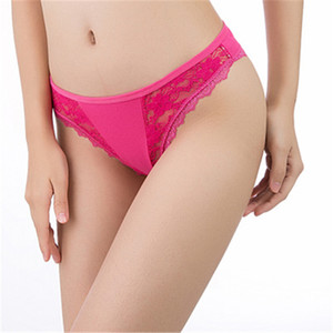 Breathable Women Lace Thong Briefs Low Waist Lace Panties Fashion Sexy Solid Color Comfortable Casual Female Underwears
