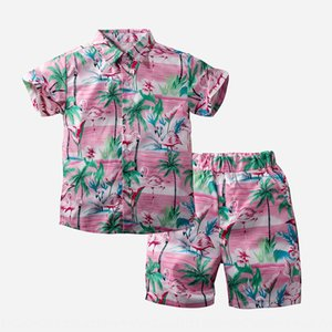 2020 new children's holiday style leisure fashion brand boy short sleeve pink shirt sports Sports pants suit pants suit