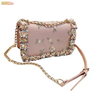 Womens Fashion Shoulder Bags Crochet Hand Embroidery Embroidered Pearl Casual Crossbody Bag