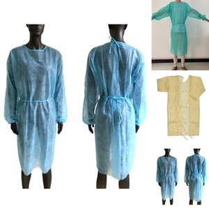 Non-woven Protection Gown 3 Colors Unisex Disposable Protective Clothing Dustproof Protective Gown Kitchen Apron CCA12299 60pcs