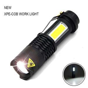 Portatil linterna LED Q5 + COB البسيطة زنجي 2000LM بردة تكبير linterna LED دي أوس 14500 bateria دي