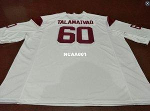 Hommes Blanc Rouge # 60 Viane Talamaivao USC Trojans anciens College Jersey S-4XLor personnalisés ne importe quel nom ou maillot numéro