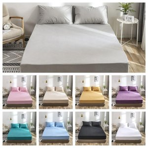 2 3pcs Sheet Set Solid Waterproof Bedding Set Soft Bed Fitted Sheet Pillowcase Twin Full Queen King