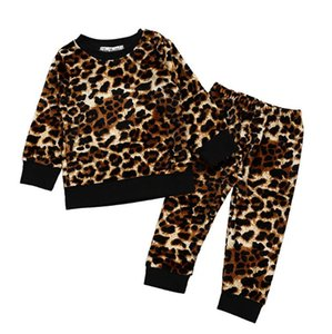 Leopard Baby Outfits Coral Velvet Toddler Girls Tops Pants 2pcs Sets Long Sleeve Infant Boy Clothing Set Sleepsuits DW5037