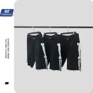 UNCLEDONJM Men's Denim Shorts Side Skeleton Distressed Black Jeans Shorts Summer Knee Length for Male jeans B22