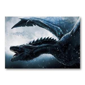 Game of Thrones Drogon parede Arte em tela Pintura A Song of Ice and Movie Poster Fogo Prints famoso muro Retrato para Living Room Home Decor