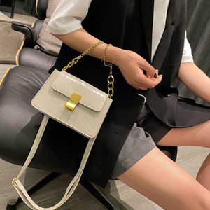 vintage chains women flap shoulder bags alligator pattern clutch handbag