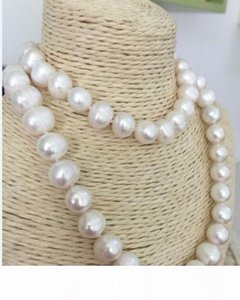 Hand knotted natural 10-11 mm white fresh water cultured pearl necklace long 90cm fashion jewelry