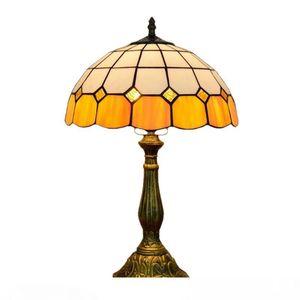 Tiffany style Vitrail Lampes de table Bar Restaurant Hôtel Chambre simple Lampe de chevet orange aGlass Lampe de bureau TF035
