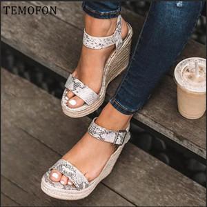 TEMOFON Platformu peep toe yüksek takozlar sandalet siyah topuklu yaz kadın büyük boy roman elbise ayakkabı HVT907 CX200715