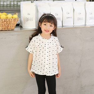 Size 90-130 1911 New all-match girl's shirt love short sleeve Coat shirt top outer top